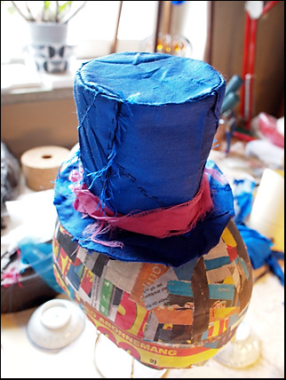 top hat in dupion silk