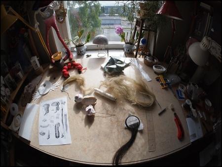 wig making on a happy desk