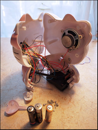 inside Hello Kitty clock