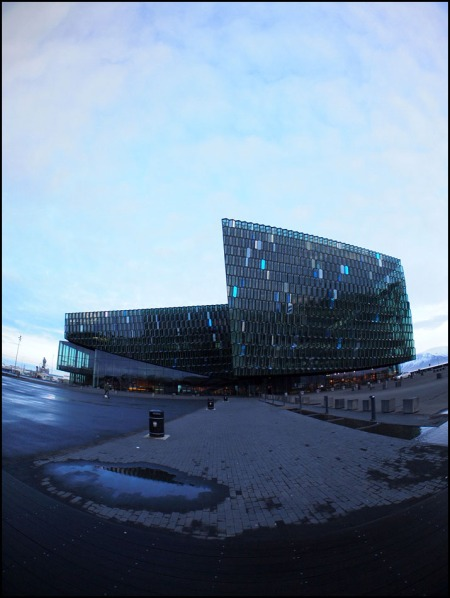 stepping out of Harpa