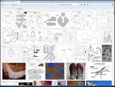 google medieval shoes pattern