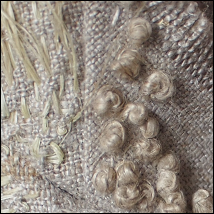 sisal and french knots on linnen